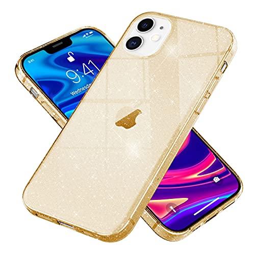 NALIA Carcasa Purpurina Compatible con iPhone 12 / iPhone 12 Pro Funda, Delgado Translucido Bling Sparkle Silicona Gel Cubierta, Slim Glitter Crystal Case Brillo Cover Suave, Color:Gold Oro