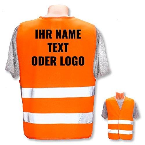 Personalisierte Warnweste nach ISO 471 für Privat und Gewerbe * eigenes Logo Name Bild * Klasse 2/2 Sicherheitsweste, Farbe Warnweste:Orange