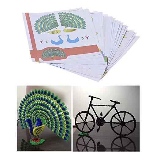 Lápiz 3D inteligente DIY niños de los niños de impresión en 3D pluma de doble cara del papel de dibujo transparente de dibujos animados con la plantilla copia del álbum Graffiti 22Pcs / paquete 44 Pat