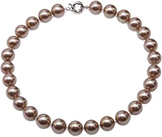 JYX Pearl Necklace South Seashell Pearl Necklace 14mm Round Beads Jewelry for Women 18''