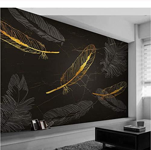 Finloveg Benutzerdefinierte Wandbild Tapete 3D Goldene Feder Marmor Textur Wandmalerei Wohnzimmer Studie Luxus Decor Tapeten Für Wände 3 D-350X250Cm