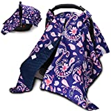 Baby Car Seat Cover, Peekaboo Opening Infant Carseat Canopy for Boys Girls, Minky Blanket, Car Seat Covers for Newborn, Carrier Cover Poncho, Nursing Covers for Breastfeeding, Paisley