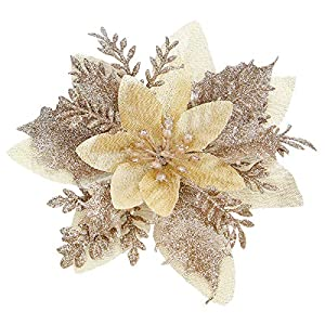 Zhuqing 15Pcs Christmas Poinsettia Artificial Flowers Decorations with Cilps, Glitter Poinsettia Christmas Tree Ornaments for Xmas/Wedding/Party/Holiday/Festival/Wreath/Garland Decor, 5.1 Inch