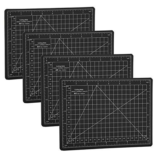 Tabla de cortar antideslizante y no reflectante, tapete de corte autocurativo negro A5 de 4 piezas, tapetes para tabla de cortar para evitar que la hoja raye el escritorio