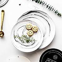 1個近代マーブルデザインサービスプレートセラミックディナープレート家庭用食器食器プレートライスデザートディッシュ8 / 9.8インチ (Color : Pink s)