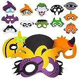 15 màscares de Feltre d'Halloween, Fantasma de Carabassa, Bruixa, ratapinyada per a màscares de *Cosplay d'Halloween, favors d'Halloween per a nens i nenes, Subministraments per a Festes d'Halloween