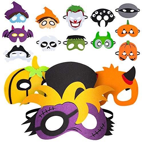 Nonbrand Maschera di Feltro di Halloween (15pcs), Forniture per Feste per Bambini Non tossiche e sicure, Cosplay di Halloween, Masquerade, Articoli per Feste