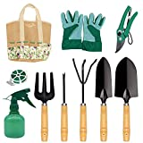 shoplease Garden Tools Set, 8 Piece Heavy Duty Gardening Kit Ergonomic Wooden Handle Outdoor Gardening Tools for Woman and Man