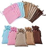 Crazy-M 25 x Sacs en Toile colorés dans 5 Formes différentes Sac en Lin pour Sac de Calendrier de l'avent Sac Nature Sac en Coton Sac en Toile Sac en Lin Bijoux Cadeau Sac - 10 x 14 cm