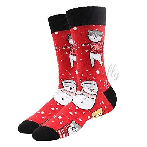 2 Pares de nuevos Calcetines navideños Femeninos Divertidos Papá Noel árbol de Navidad Nieve algodón Calcetines Felices MasculinosAño Nuevo Soken-a28-EUR36-40
