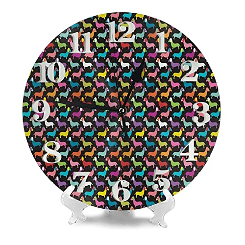 Retro Perros Dachshund reloj de pared 9.8 pulgadas silencioso redondo reloj de pared funciona con pilas no tictacs creativo decorativo reloj f