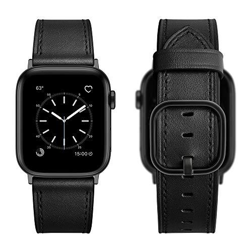 Aottom Piel Correa Compatible con Correa Apple Watch Series 6 44mm Cuero Smartwatch Pulseras Repuesto Piel Reloj Apple Watch 42mm Correa Hombres Correas Apple Watch SE para Series SE/6/5/4/3/2/1,Negro