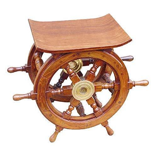 linoows Steuerrad-Tisch, Maritimer Kajüten Tisch- Hocker aus Sheesham Holz