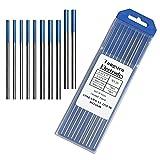 Tig Welding Tungsten Electrodes, 2% Lanthanated Blue Tungsten Assorted Welding Rods-Blue 5PCS 3/32' + 5PCS 1/16'