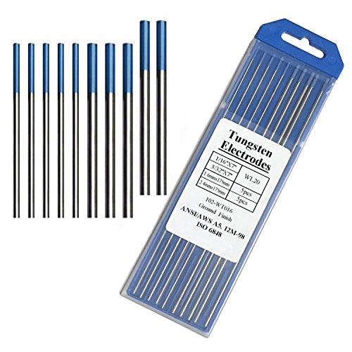 """Tig Welding Tungsten Electrodes, 2% Lanthanated Blue Tungsten Assorted Welding Rods-Blue 5PCS 3/32"""" + 5PCS 1/16"""""""