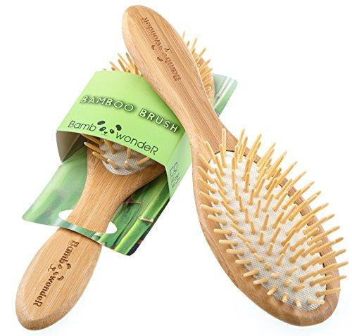Bamboo Wonder Brosse à cheveux en bambou 100 % naturel avec poils de bambou pour tous les types de cheveux, démêlant antistatique, petit et léger, massage cuir chevelu pour cheveux solides et sains.