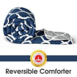 Divine Casa Microfibre Comforter/Blanket/Quilt/Duvet Lightweight, All Weather, Reversible Single Comforter, Navy Blue