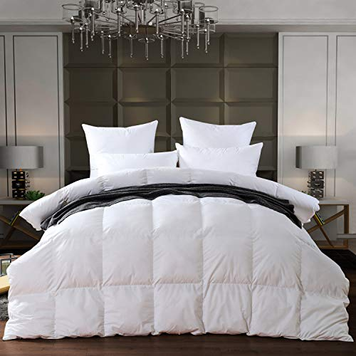 Luxury White Goose down Comforter King Size 750 Fill Power, 1000 Thread Count, Duvet Insert with loops,fluffy and comfortable