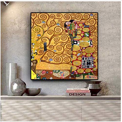 A&D Wandkunst Home Decoration Poster Leinwand Nordic Print Gustav Klimt die Erfüllung Malerei Wandkunst Bilder -60x60cmx1pcs- Kein Rahmen