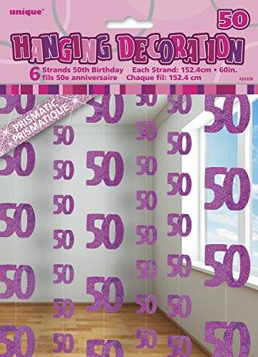 5ft Hanging Glitz Pink 50th Birthday Decorations, Pack of 6