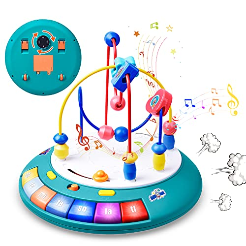 GJZZ Baby Toys 12 - 18 Months, Bead Maze UFO Toy with Music, Lights, and Learning Songs for Babies. Toddler Toys for Boys and Girls