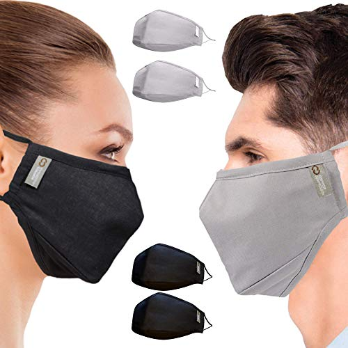 Mixed Color 4 Pack Copper Compression Copper Infused Face Mask Black and Gray Bundle - Black Mask 2-pack + Gray Mask 2-pack