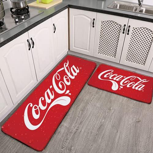 Coca_Cola Tongue 2 Pieces Kitchen Flannel Rugs and Mats Set Water Absorb Non-Slip Kitchen Carpet Washable Microfiber Bathroom Mat Doormat Carpet