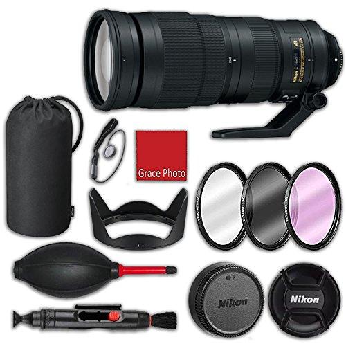 Nikon AF-S NIKKOR 200-500mm f/5.6E ED VR Lens with HB-71 Bayonet Hood, CL-1434 Semi-Soft case, 3 Piece Filter kit (UV, CPL, FLD), Rubber air dust Blower, Lens Cleaning Pen