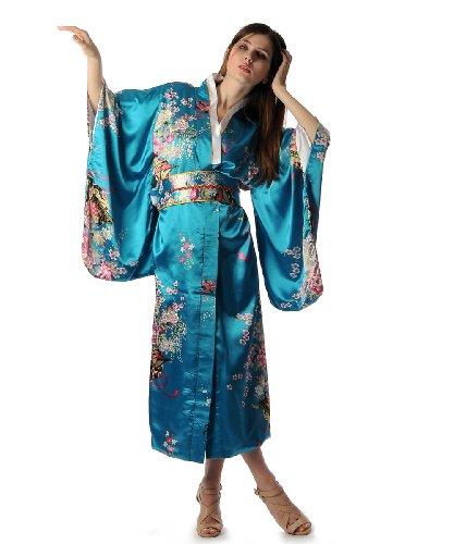 Quyi Women's Deluxe Kimono Robe Yukata Japanese Dress w/Obi One Size Lake Blue
