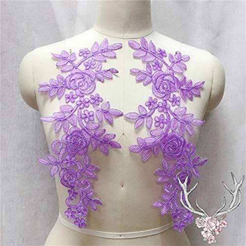 Qingsb naaien kant stoffen 2 paar 14 * 35cm kleuren ganza borduurwerk bloem grote kant applique voor trouwjurk bruidsjurk, paars