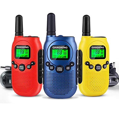 Qianghong Rechargeable Walkie Talkie for Kids Included Li-ion Battery and Charger (Blue/Yellow/Red)