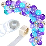 Tatuo 112 Pieces Balloon Garland Kit Balloon Arch Garland for Mermaid Birthday Party Decorations (Purple Green)