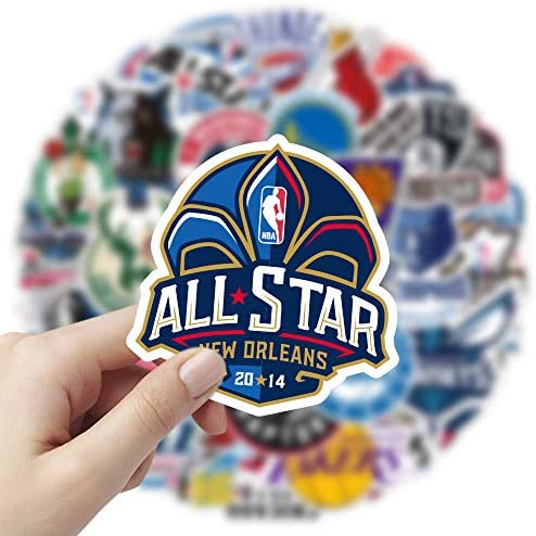 50 PCS N_B_A Team Logo Stickers, Aesthetic Stickers, Cute Stickers, Laptop Stickers, Vinyl Stickers, Colorful Waterproof Stickers for Water Bottles, Decals for Kids Teens, Christmas Teen Girl Gifts