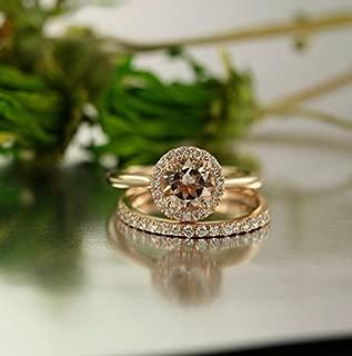 Balance-VS Diamond 7MM Round Morganite In 14K Rose Gold Halo Engagement Ring and 14K White Gold Half Eternity Diamond Wedding Band Bridal Set