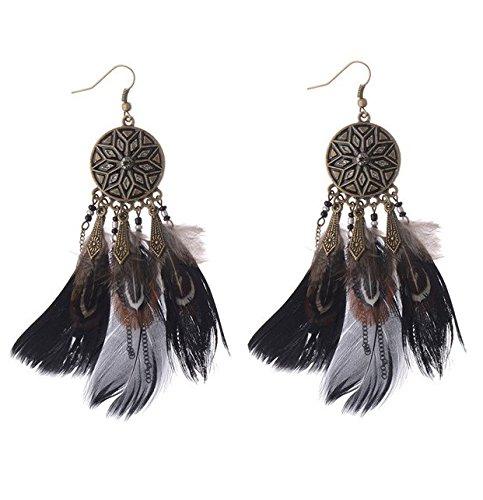 Jovono Pendientes de plumas bohemias vintage para mujeres y niñas