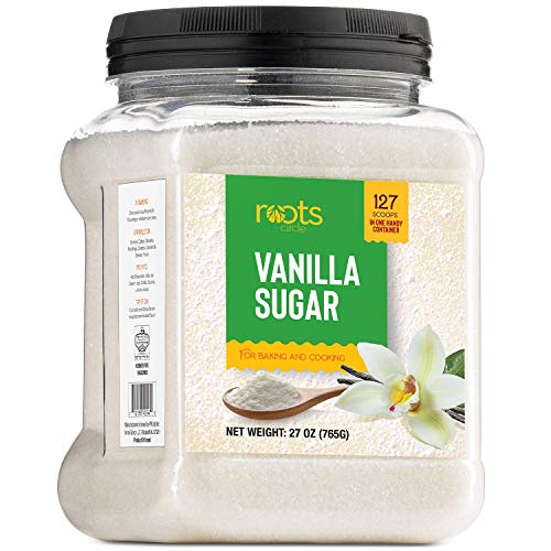 Roots Circle Vanilla Sugar for Baking | For Chefs, Home Cooking, Coffee, Cocktails, Cakes, Crème Brulee & Dessert Making | Ice Cream & Shakes | Resealable Container [27oz] Kosher for Passover Kitniyot