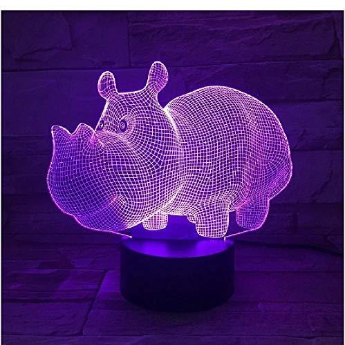 Hipopotamus USB Lámpara 3D 7 colores Toque Dormitorio Luces Atmósfera Decoración Luz Familia Padre Niños Regalos