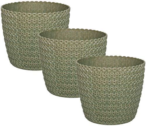 idea-station Eco macetas plastico 3 Piezas, 14 cm, Verde, 30% de Madera, Rondo, pequeñas, maceteros, jarrones, Decorativas, pequenas, Interior, Exterior, inastillable
