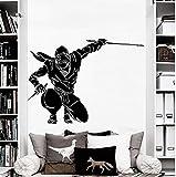 Calcomanía de pared Ninja Guerrero japonés vinilo pegatina Samurai artes marciales calcomanías sala de deportes estilo Vintage pegatinas decoración del hogar 76x56cm