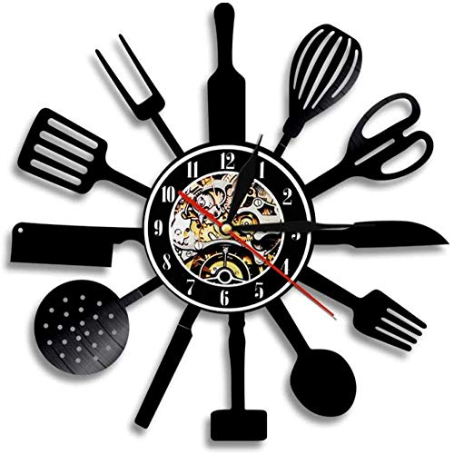 mbbvv LED Negro plástico Cocina Cesta vajilla decoración Reloj Comida Regalo Familiar Ideas de Regalo Cocina vajilla álbum de Fotos Arte de la Pared