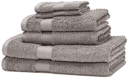 Amazon Basics - Juego de toallas (colores resistentes, 2 toallas de baño, 2 de manos y 2 para bidé), color gris