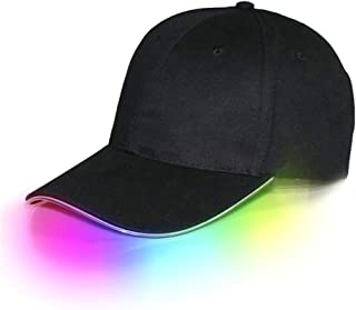 precauti LED Baseball Cap Light Up Hut Sport Travel Party Club Cap Glasfaser leuchtende Hut mit LED-Lichtkrempe für Outdoor-Aktivitäten