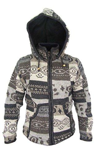Little Kathmandu Gheri Herren Jacke mit Kapuze aus Wolle und Patchwork-Fleece-Futter Gr. XL, Mehrfarbig