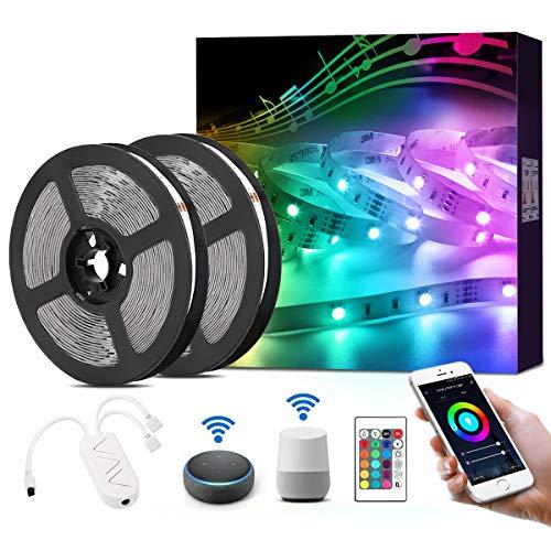 LE LED Strip Alexa, 10M(2x5M) LED Streifen mit Musik, IP20 Smart RGB Lichtband [nur 2.4GHz] WiFi LED Leiste Lichterkette für Haus, Küche, Party, TV, LED Band Kompatibel mit Alexa, Google Home