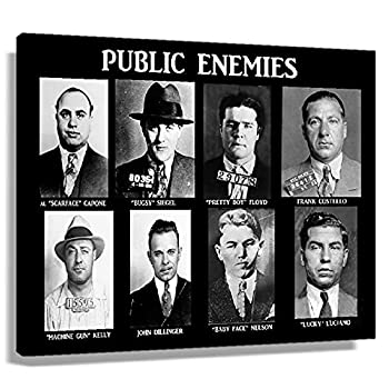 WQINGC Gangsters Mafia Public Enemies Poster Decor for Bedroom Wall Art Canvas Painting Oil Printing Pictures Artwork for Home Pictures for Kitchen Decorations for Bedroom Contemporary Prints  24x36inch 60x90cm ,Unframed
