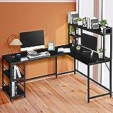 Schreibtisch L Form 170×120×75cm, Eckschreibtisch Groß mit Regal, Schreibtische & Arbeitsplätze, Schreibtisch Schwarz Holz-Metall, Computertisch Bürotisch PC Tisch mit Ablage,Möbel für Arbeitszimmer