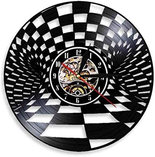 Reloj de pared de vinilo Tablero de ajedrez en blanco y negro Reloj de pared Damas Vintage Reloj de pared de vinilo Vintage Damas Decoración de pared Regalo para amantes del ajedrez Reloj silencioso d