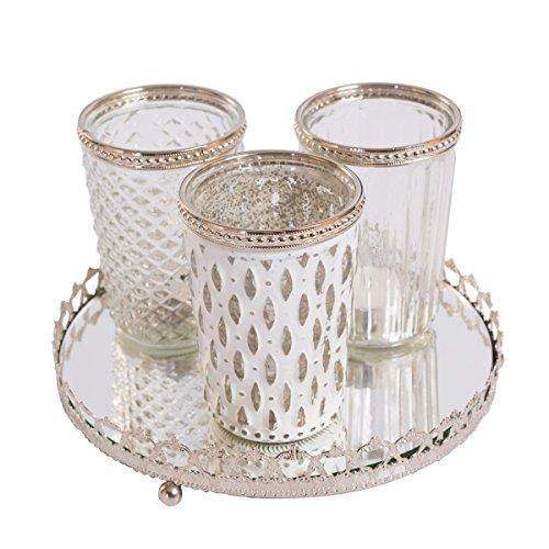 Home&Decorations 3er Windlichtset Teelichtglas mit Spiegelplatte Teelichthalter Kerzenglas Windlicht Glas Kerzentablett (Weiß) Antik