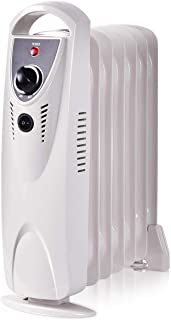 COSTWAY Oil Filled Radiator Heater, 700W Portable Space Heater with Adjustable Thermostat, Overheat & Tip-Over Protection, Electric Ceramic Heaters with Digital Controls for Indoor Use (15