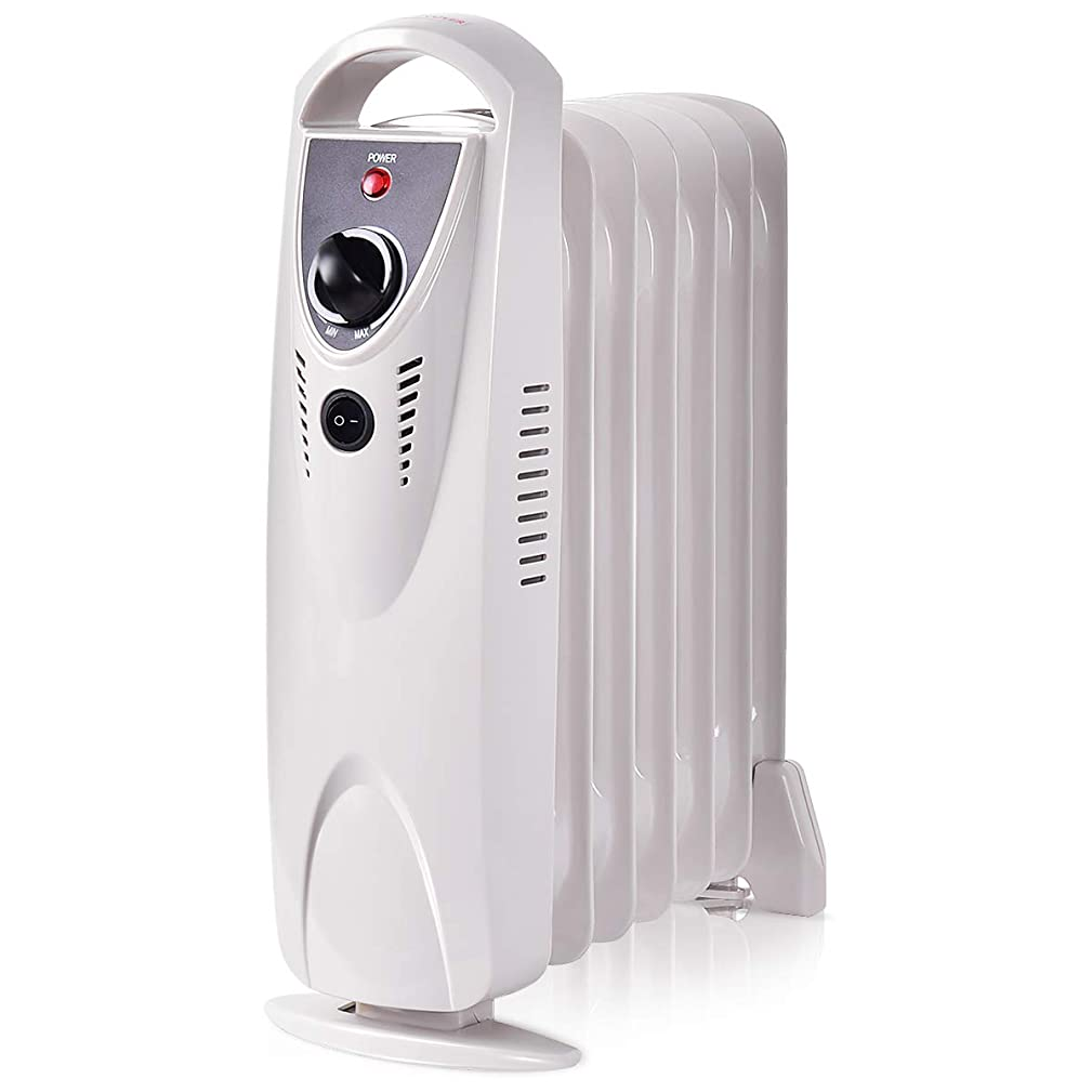 COSTWAY Portable Space Heater Electric Radiator Heater Oil Filled Compact Mini Adjustable Thermostat Room Radiant, Tip-Over and Overheating Protection for Home and Office 700W